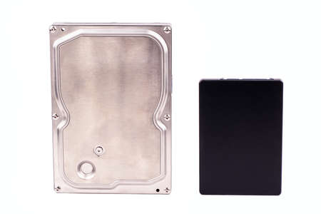 Hard disk drive (HDD) and solid state drive (SSD) on a white background