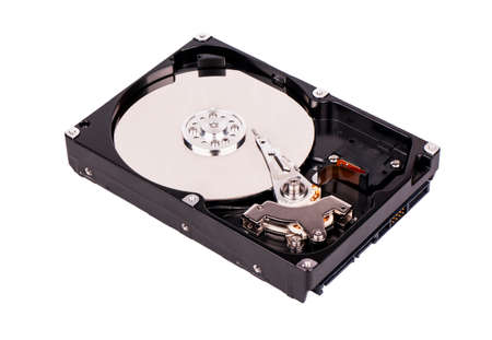 hdd: Open hard disk drive (HDD) on white background