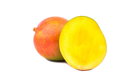 sweet pulp: Fresh mango fruit with cut in half on a white background