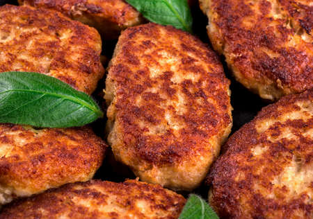 cutlets: Fried cutlets with leaves close-up