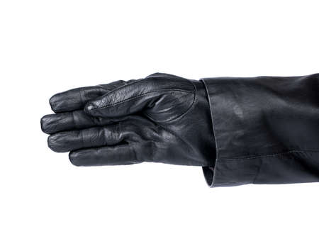 thief: Empty thiefs hand in a glove on a white background