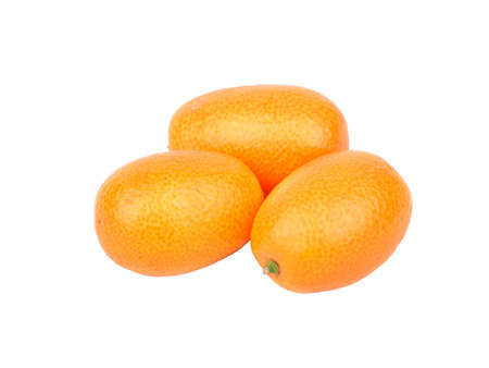 cumquat: Three fresh kumquat fruit on a white background Stock Photo