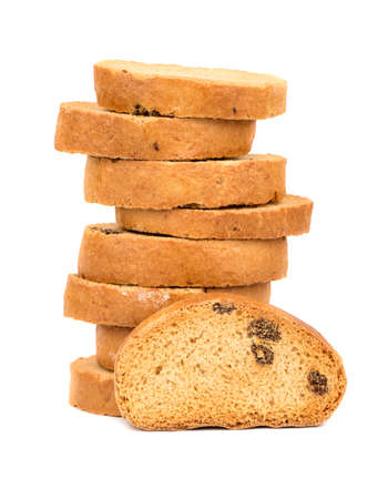 rusk: Stack of rusk with raisins on a white background