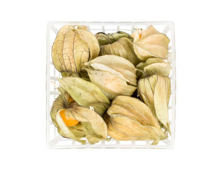 Physalis fruit in a plastic container isolated on white background, top view