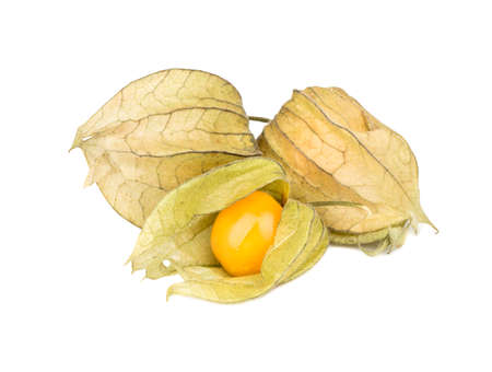 Three fruit Physalis in a peel on a white background Stock Photo