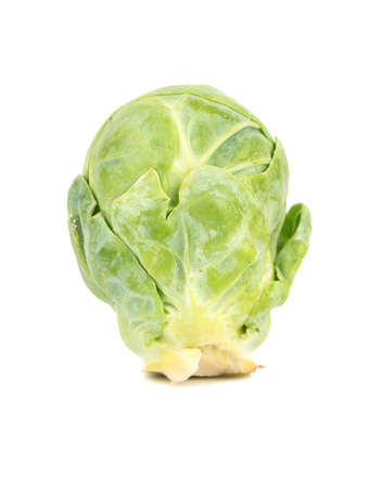 brussel: Raw green brussel sprouts isolated on white background