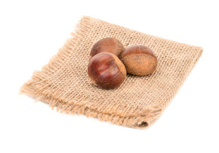 Three fresh edible chestnut on sackcloth and white background Stock Photo