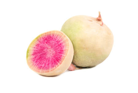 Fresh watermelon radishes with a juicy half on a white background