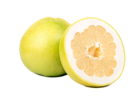 Delicious fruit Oroblanco with half on a white background
