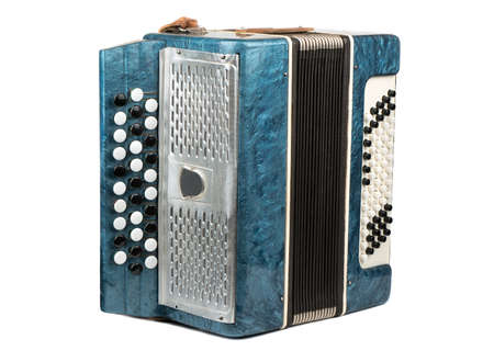 Old musical instrument bayan accordion isolated on white background Stok Fotoğraf