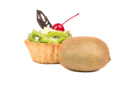Delicious tart with kiwi fruit on a white background