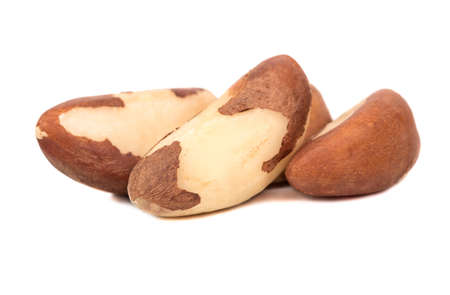Small pile of Brazil nut on white background