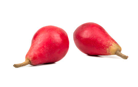autumn colour: Two fresh red pears isolated on white background