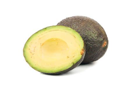 Ripe Hass avocado half isolated on white background Stock Photo