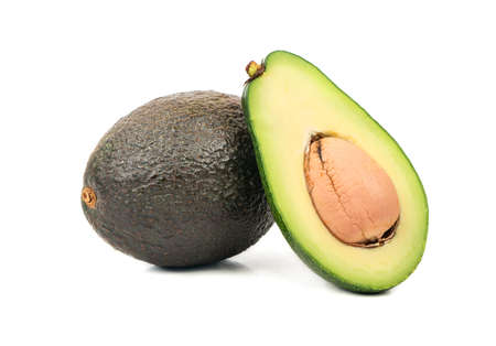 Avocado Hass with half on white background