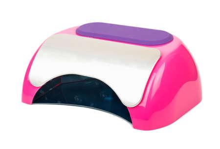 Lámpara led de color rosa para la manicura aislado en el fondo blanco Foto de archivo - 92050485
