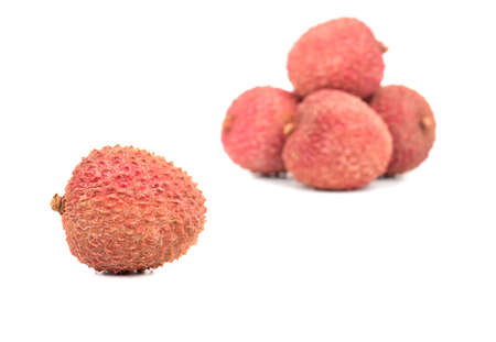 Fresh fruit lychee in the shell on white background