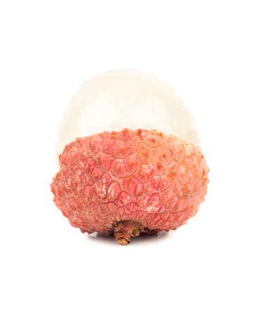 Fresh fruit lychee peeled to half isolated on white background