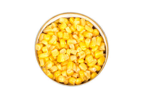 Canned corn in a tin isolated on white background, top view