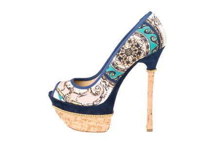 Female high-heeled shoes on a white background