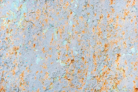 Background of old rusty painted iron closeup