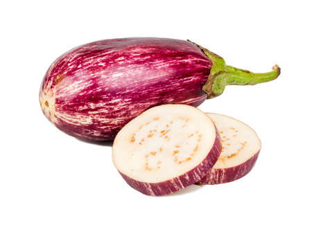 Fresh purple eggplant with two slices on white background Фото со стока