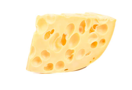 Piece of cheese with holes on white background 版權商用圖片