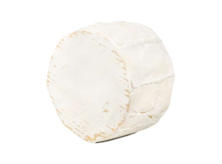 Round brie cheese with mold on white background