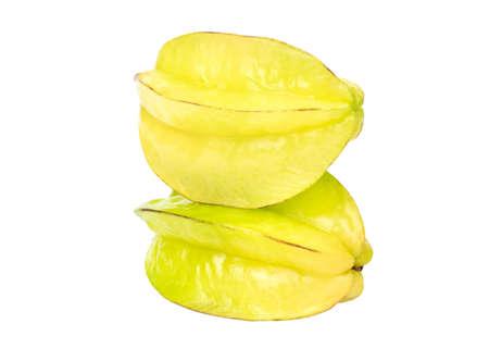Two ripe carambola fruit isolated on white background Standard-Bild