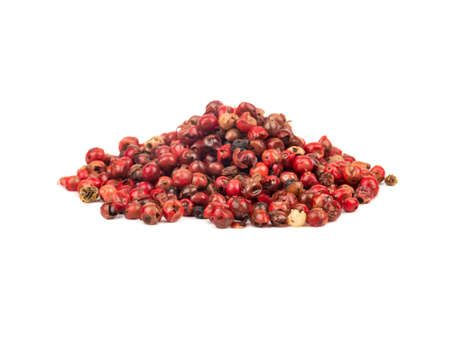 Pile of red pepper peas on white background