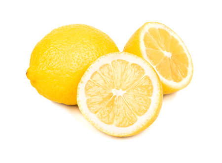 Lemon fruit with two halves on white background