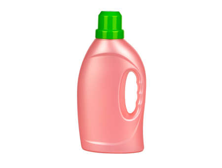 Plastic bottles of washing gel on a white background