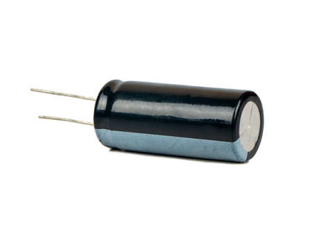 Black radio capacitor detail isolated on white background