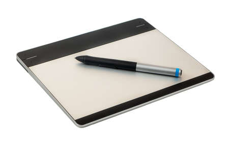 Small graphic tablet with pen isolated on white background Stockfoto