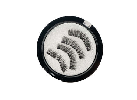 Magnetic false eyelashes in a box on white background, top view Imagens