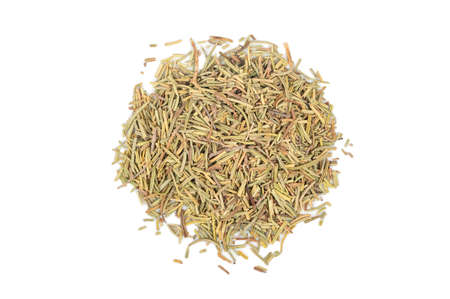 Bunch of dry rosemary isolated on white background, top view