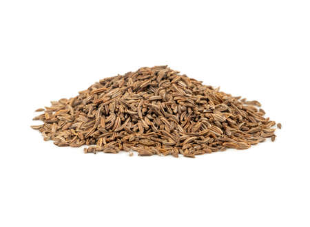 Bunch of dry cumin isolated on white background Stock Photo