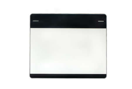 Small graphics tablet isolated on white background, top view