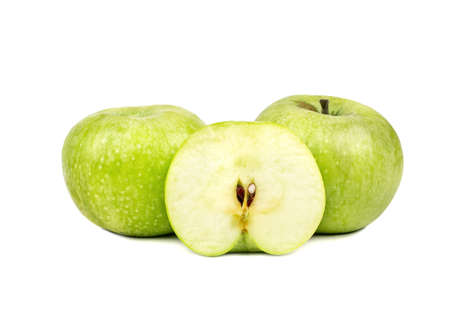 Two apple fruit with half on white background