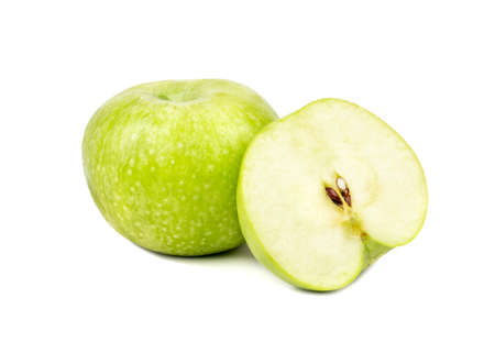 Fresh fruit green apple with juicy half on white background Фото со стока - 125684716