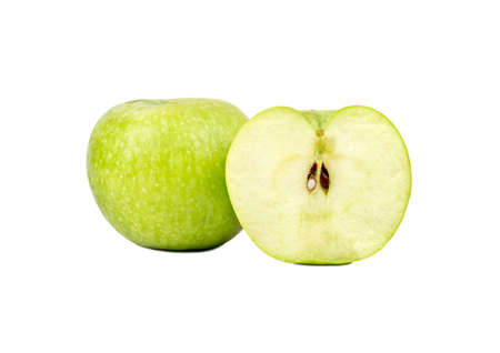 Tasty fruit green apple with half on white background Фото со стока - 125685574