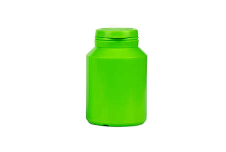 Green plastic jar for tablets and powder on white background Фото со стока - 127153423