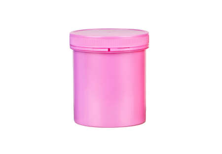 Pink plastic jar isolated on white background
