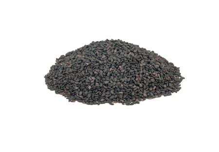 Pile of black sesame isolated on a white background Фото со стока