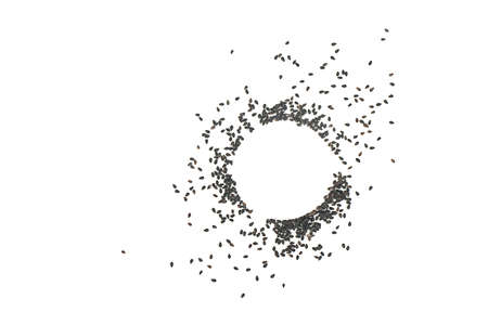 Scattered black sesame seeds with a circle on a white background