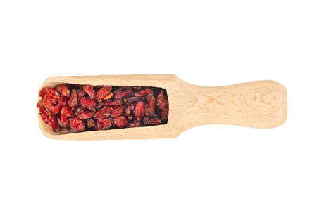 Dry barberry in wooden scoop isolated on white background