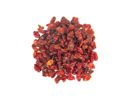 Pile of dry barberry isolated on a white background, top view