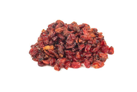 Pile of dry red barberry isolated on a white background