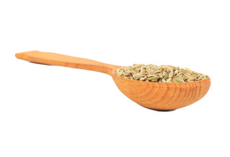 Spice dry fennel in a large wooden spoon on white background