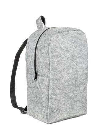 Grey felt backpack isolated on white background